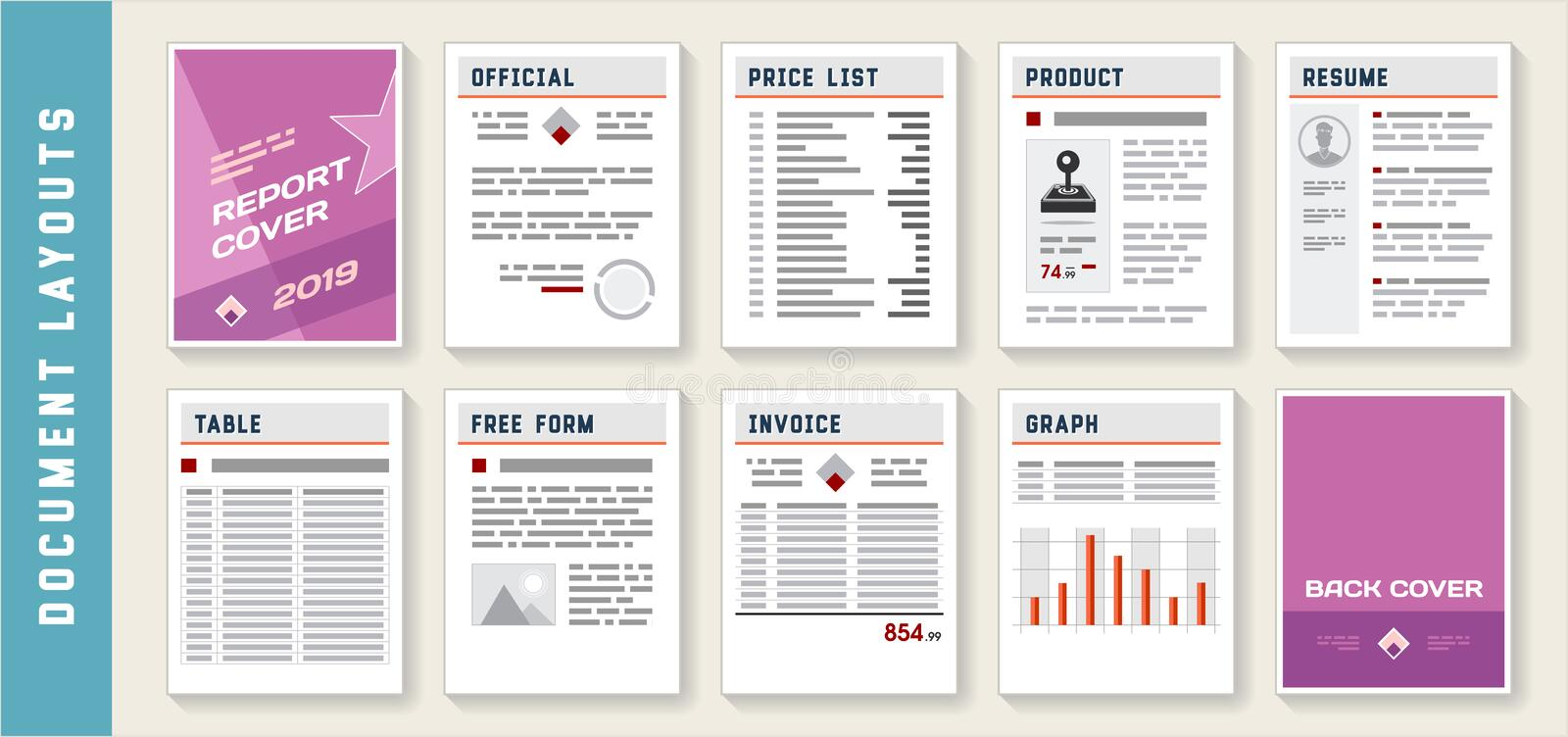 Document Report Layout Templates Set. Vector royalty free illustration