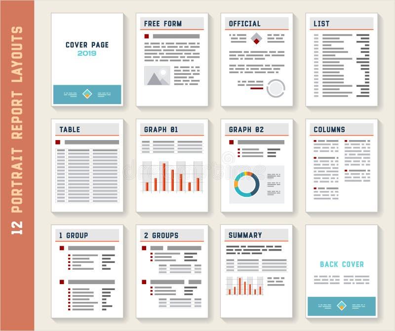 Document Report Portrait Layout Templates Mockup Set. Vector stock illustration