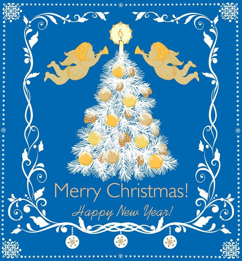 Document retro applique voor de wintervakantie met document scherpe Kerstboom, gouden ballen, kaars, engelen en decoratieve bloem vector illustratie
