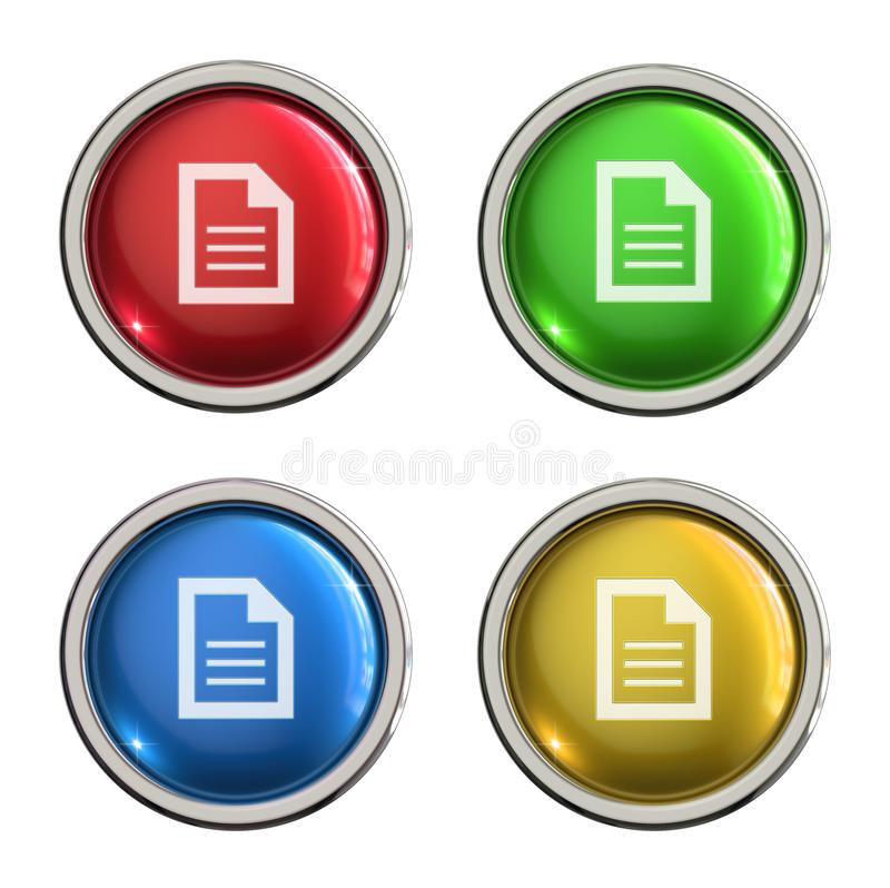 Document icon glass button. Document round shiny 4 color web icons with metal frame,3d rendered isolated on white background stock illustration