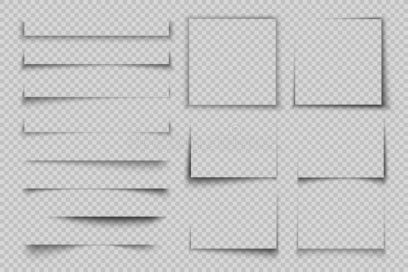 Document schaduweffect Rechthoekvakje vierkante schaduw, realistisch transparant etiketelement, de vlieger vectorschaduw van de b stock illustratie
