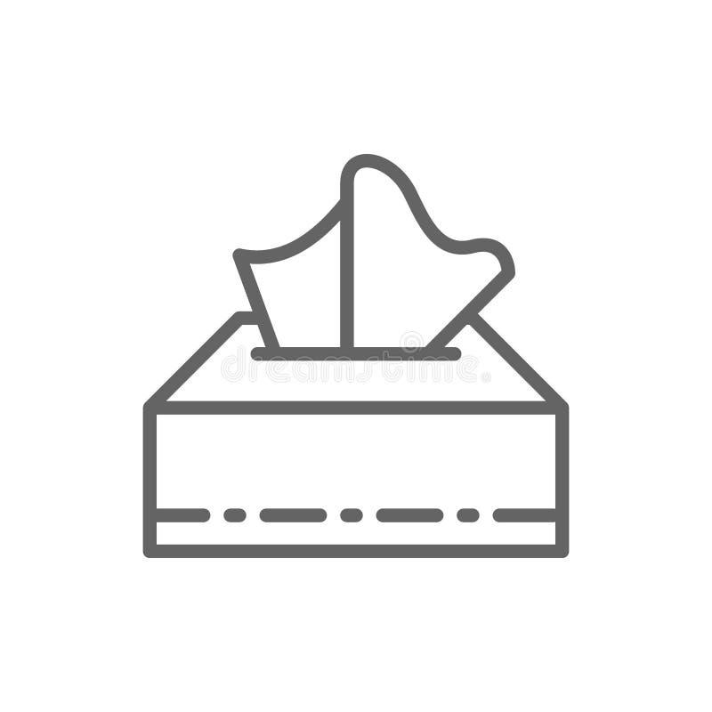 Document servetten in vakje lijnpictogram royalty-vrije illustratie