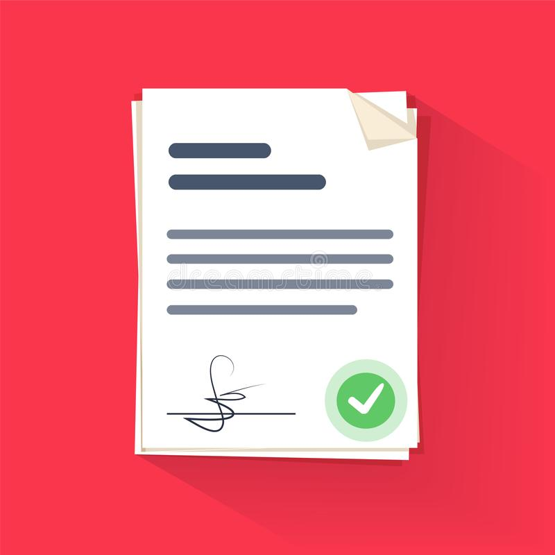 Document sign vector illustration, flat cartoon paper documents pile with signature and text royalty free illustration