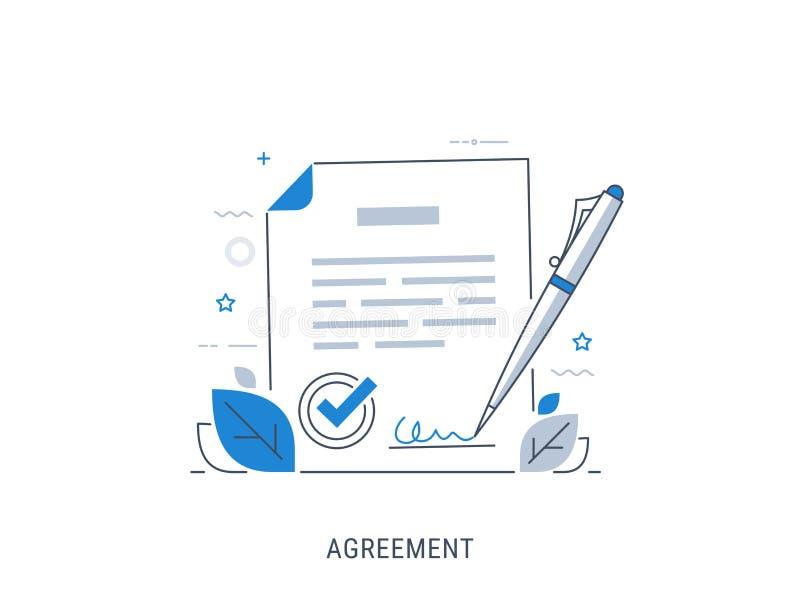 Document signing agreement. Flat modern line-art vector illustration royalty free illustration