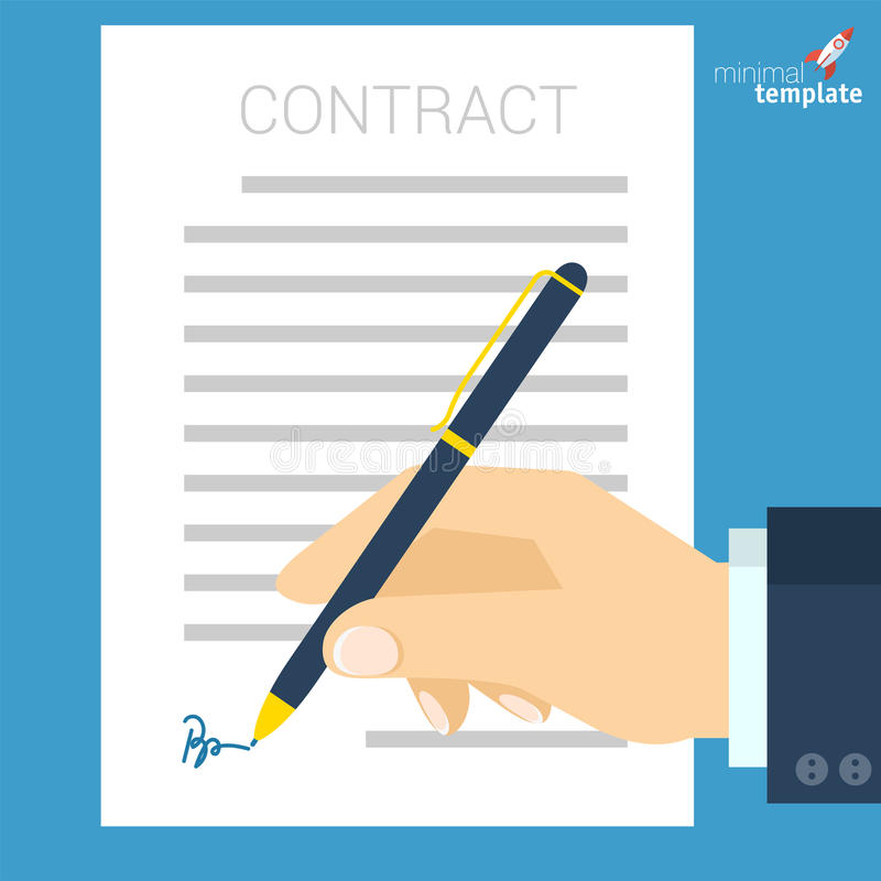 Document signing vector icon. Flat design document signing vector icon. Business man hand with pen signing document. vector illustration of legal agreement with vector illustration
