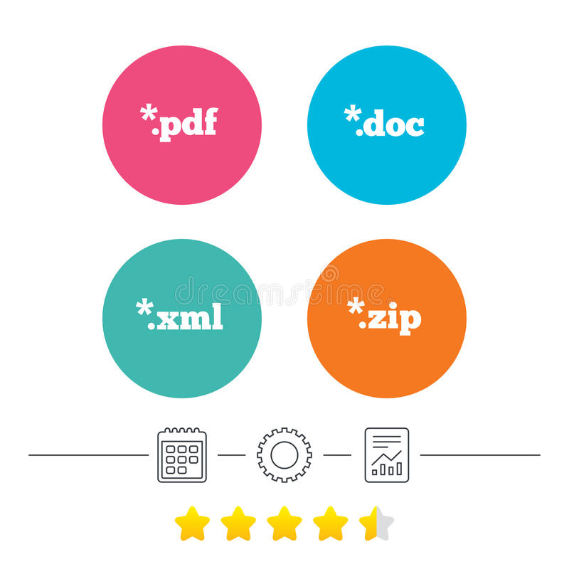 Document signs. File extensions symbols. Document icons. File extensions symbols. PDF, ZIP zipped, XML and DOC signs. Calendar, cogwheel and report linear icons stock illustration