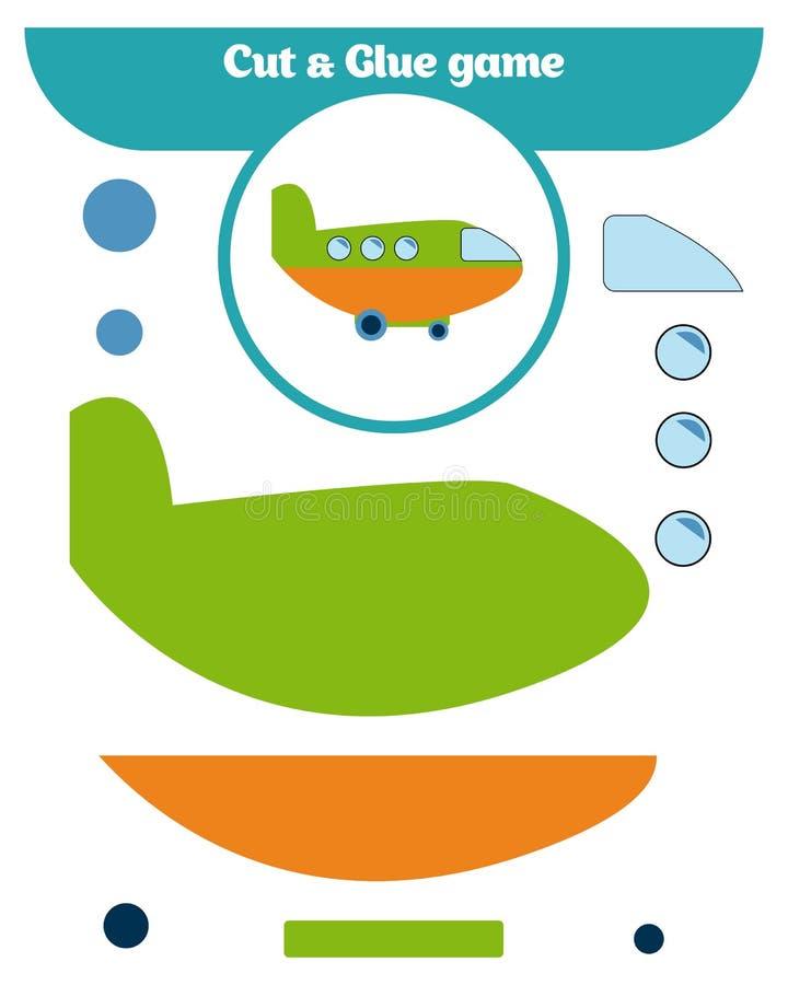 Document spel voor de ontwikkeling van peuterkinderen Besnoeiingsdelen van het beeld en de lijm op het document royalty-vrije illustratie