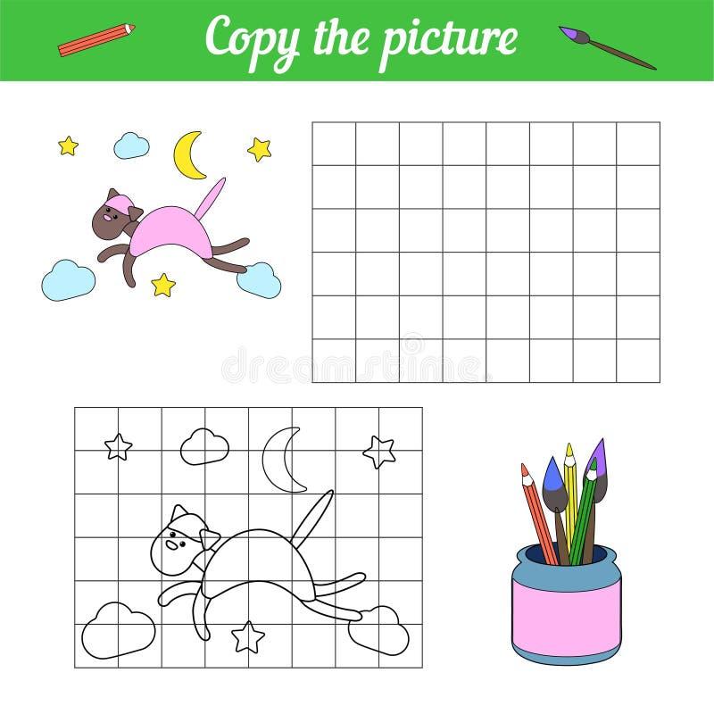 Document spel voor kleuters Kopieer de beeld en kleurensteekproef weinig dierlijk katje Raadsel Met de hand gemaakt om een huisdi royalty-vrije illustratie
