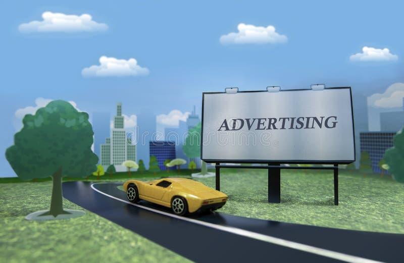 Document stad met een straataanplakbord en een gele sportwagen stock afbeelding