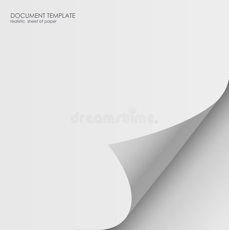 Document sticker met gebogen hoek, illustratie vector illustratie