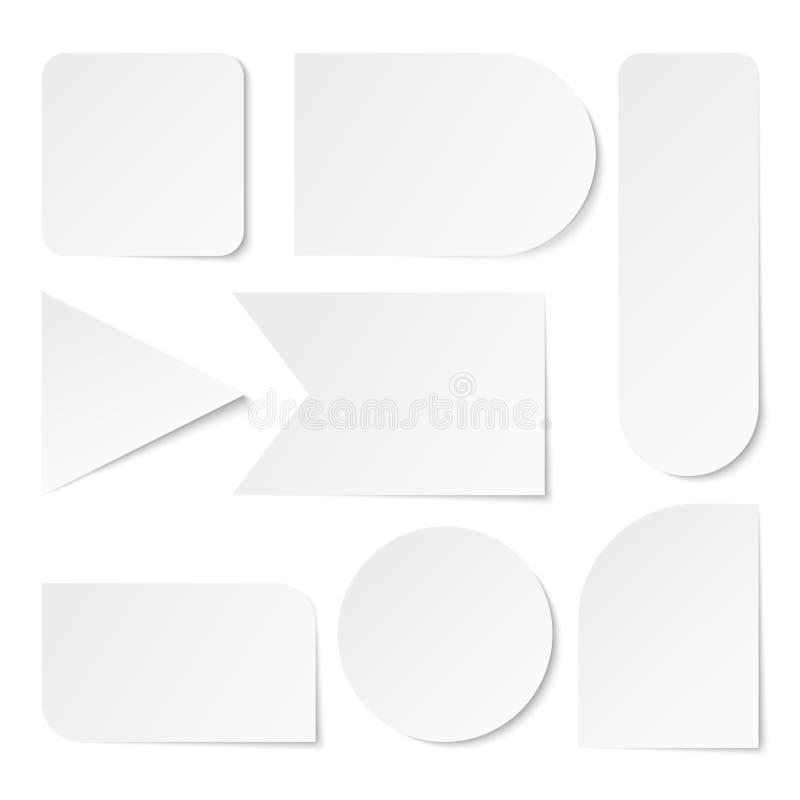 Document stickers Lege witte etiketten, markeringen van verschillende vormen Geïsoleerde Vectorreeks stock illustratie