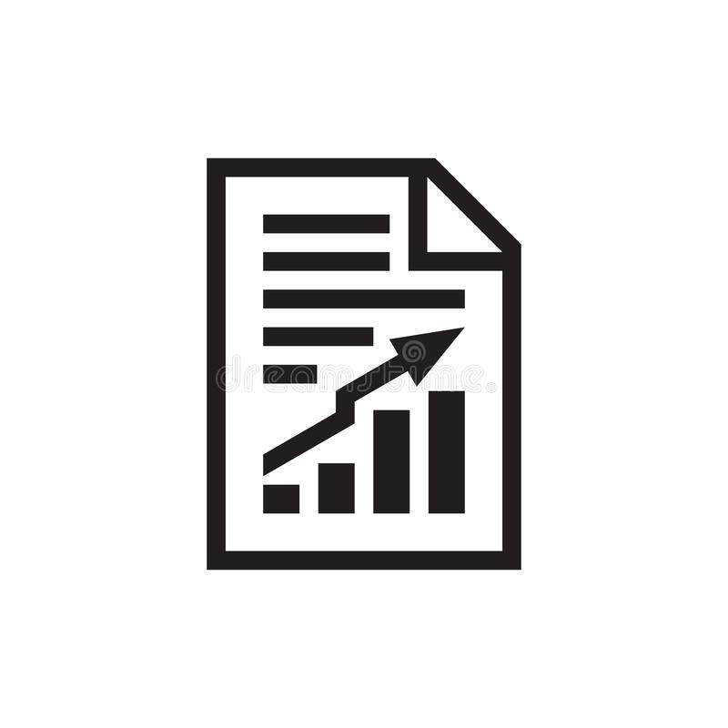 Document with stock market exchange growth graphic - black icon on white background vector illustration for website, mobile applic stock illustration