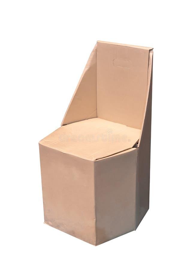 Document stoel van kringloopdiekarton wordt op wit wordt geïsoleerd gemaakt dat royalty-vrije stock foto
