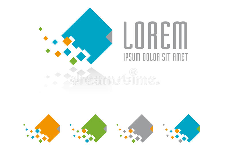 Document symbol vector design template. Dissolving document logo design template, five variations stock illustration