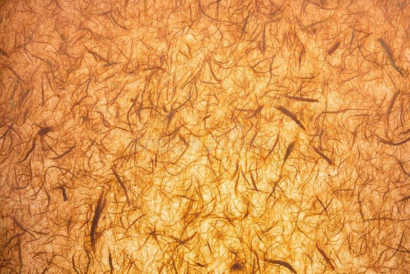 Document textuur doorzichtig met de hand gemaakt met zichtbare organische vezels stock foto's