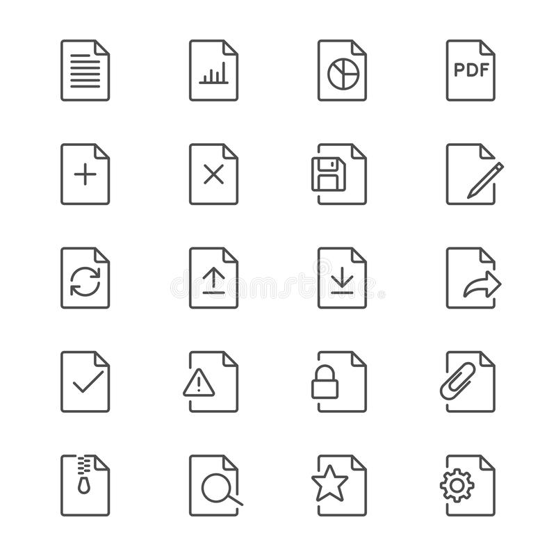 Document thin icons. Simple, Clear and sharp. Easy to resize vector illustration