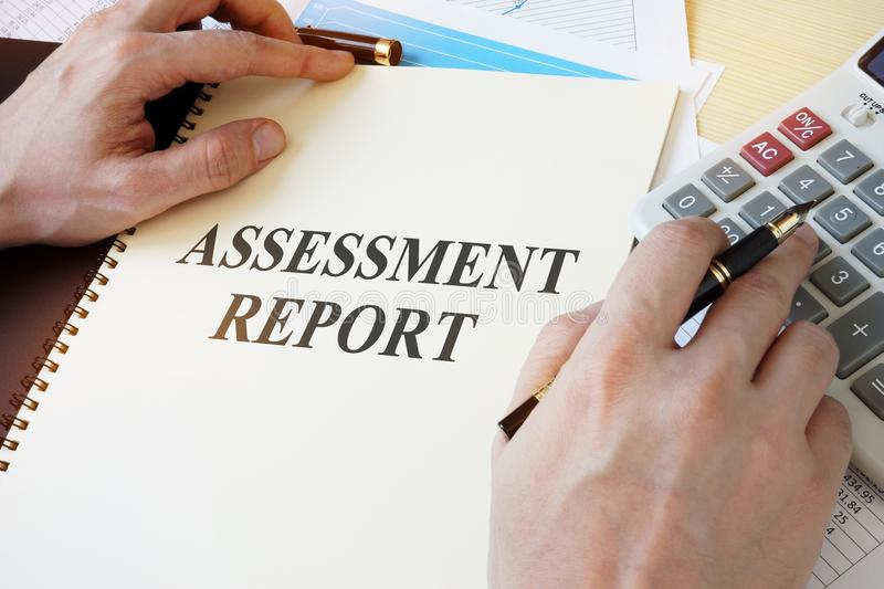 Document with title Assessment report. royalty free stock photos