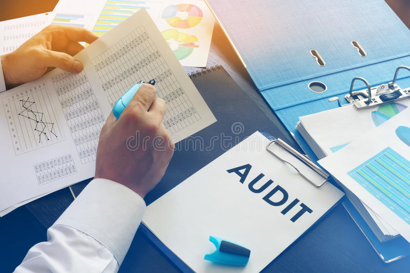 Document with title Audit. stock photo