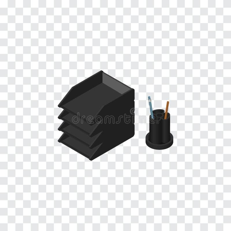 Document Tray Isometric Kan het het Rek Vectorelement van het bureaudossier voor Dossier, Rek, Tray Design Concept worden gebruik royalty-vrije illustratie