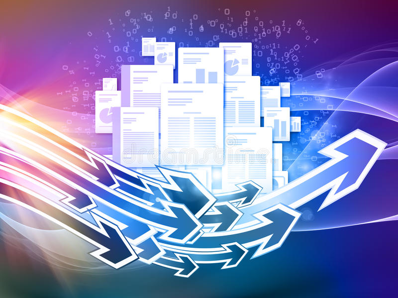 Document Universe. Interplay of document pages and abstract graphic elements on the subject of document processing, office, communications, information sharing stock illustration