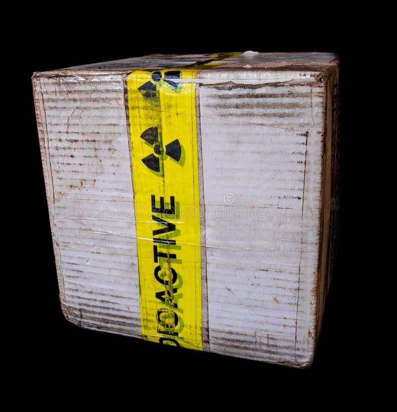 Document vakje pakket van klein radioactief materiaal stock foto's