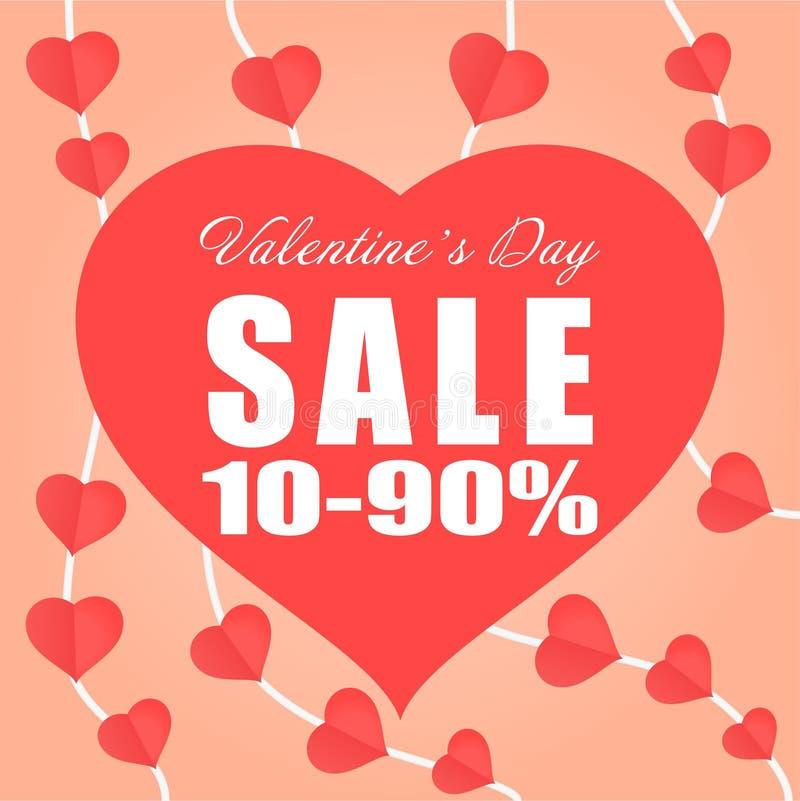 Document Valentine van de de bannerverkoop van de hart van het de dagthema van mobiel bevordering de vectorachtergrond stock illustratie