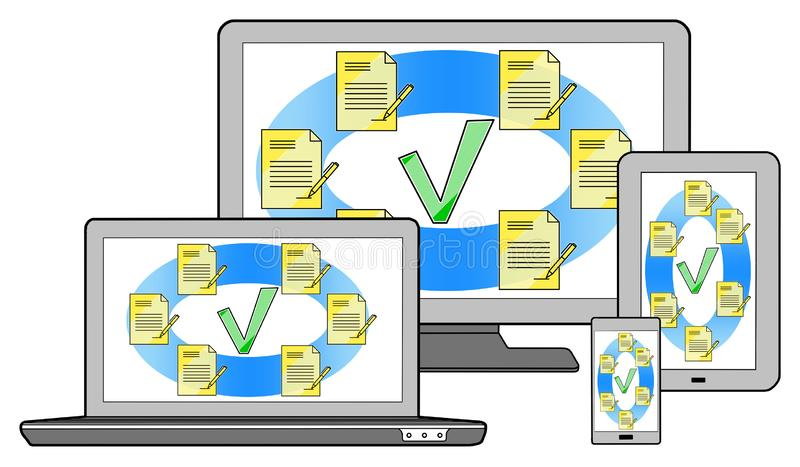 Document validation concept on different devices royalty free stock photography