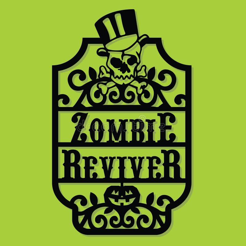 Document van de Zombiereviver van Halloween van het Besnoeiingssilhouet het Uitstekende Kader Labe stock illustratie