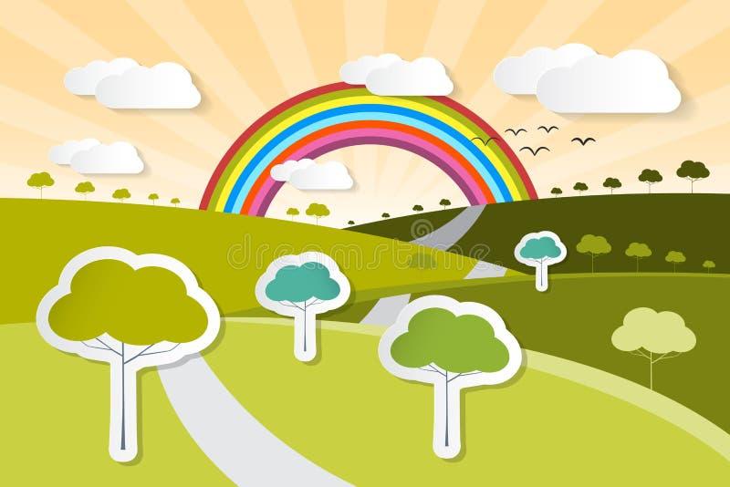 Document Vectoraardachtergrond met Bomen vector illustratie