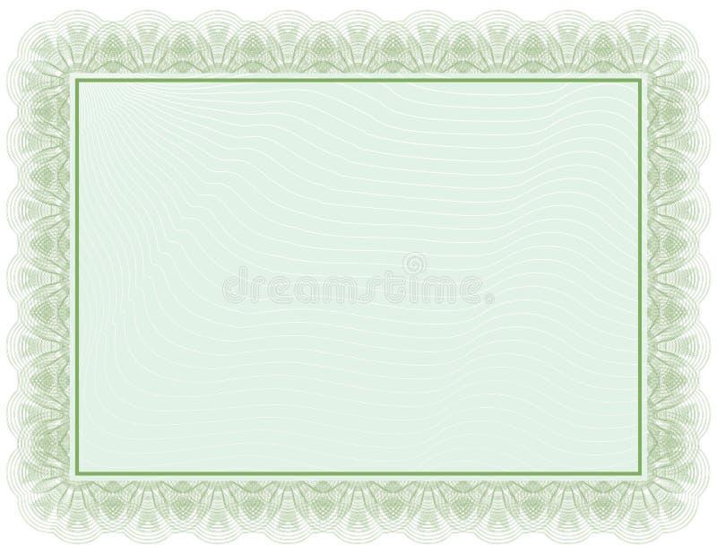 Document vert de certificat illustration de vecteur