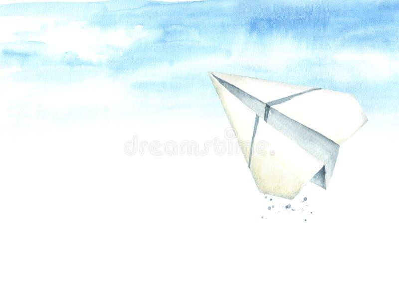 Document vliegtuig in de blauwe hemel reis concept Waterverfhand die, geïsoleerde illustratie op witte achtergrond wordt getrokke royalty-vrije illustratie