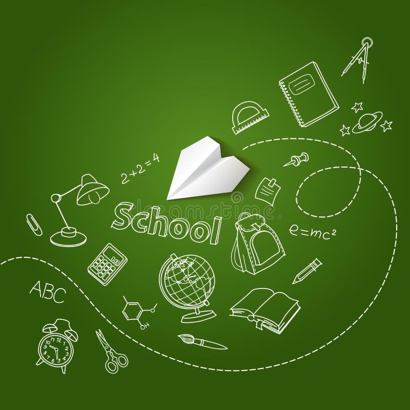 Document vliegtuig en de vectorachtergrond van de schoolkrabbel vector illustratie