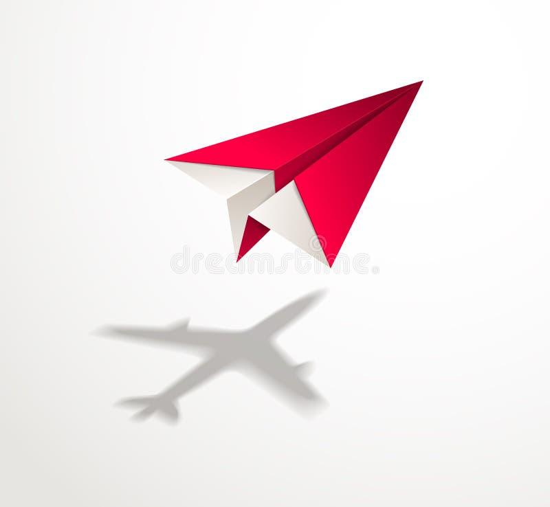 Document vliegtuig gietende schaduw van straallijnvliegtuig, origami gevouwen stuk speelgoed p vector illustratie