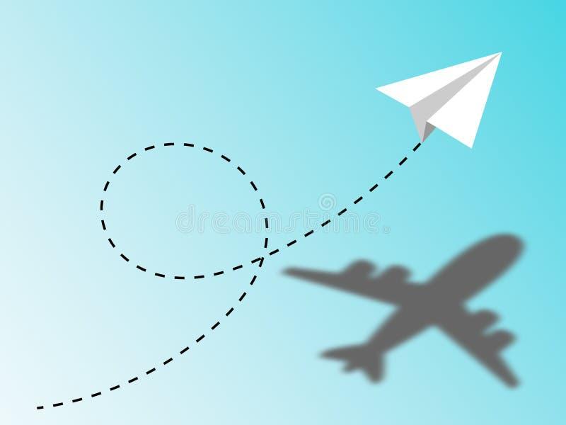 Document vliegtuig het vliegen baan in de blauwe hemel Concept visie of potentieel vermogen van een idee of een project stock illustratie
