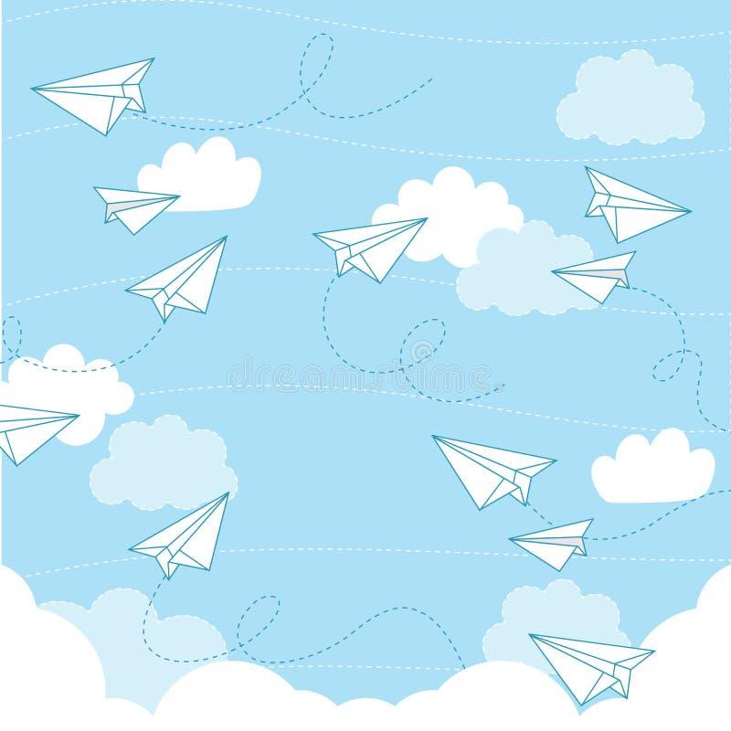 Document vliegtuig naadloos patroon royalty-vrije illustratie