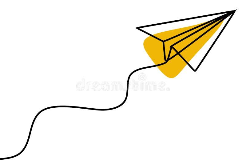 Document vliegtuig ononderbroken lijntekening stock illustratie