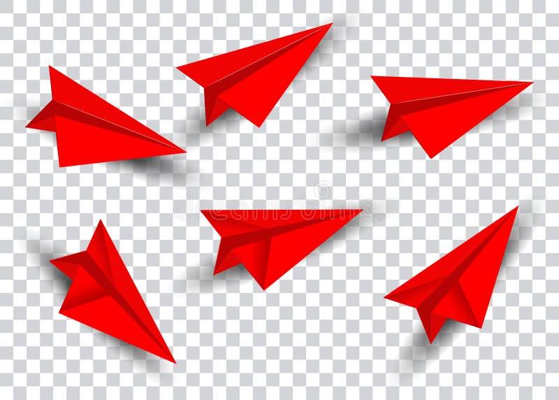 Document vliegtuig in rode vlakke geïsoleerde die stijl wordt geplaatst De inzameling van het origamivliegtuig Met de hand gemaak vector illustratie