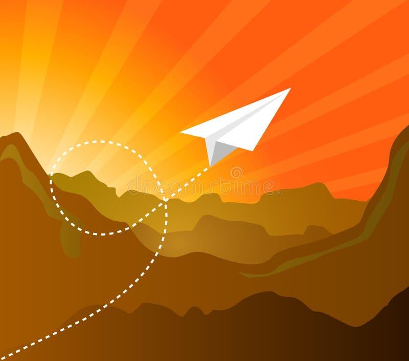 Document vliegtuig vliegend patroon over het landschap van de zonsondergangberg stock illustratie