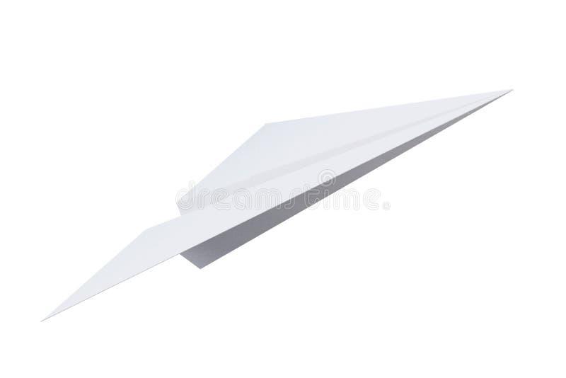 Document vliegtuigorigami op witte achtergrond wordt geïsoleerd die 3D renderin royalty-vrije stock afbeelding