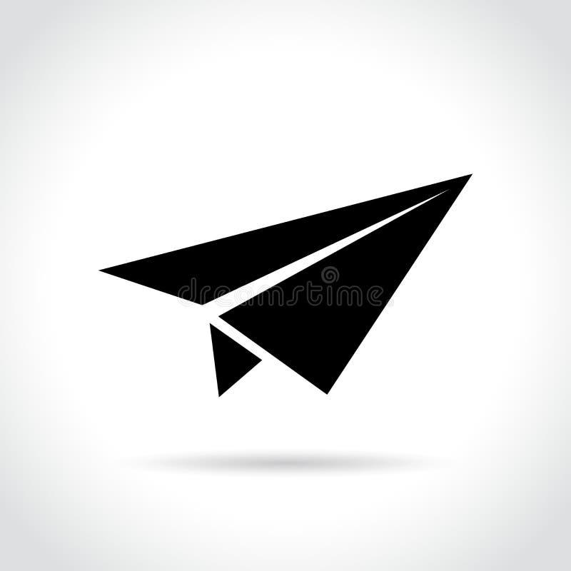 Document vliegtuigpictogram op witte achtergrond vector illustratie