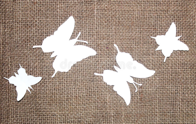 Document vlinders met jutedoek royalty-vrije stock foto