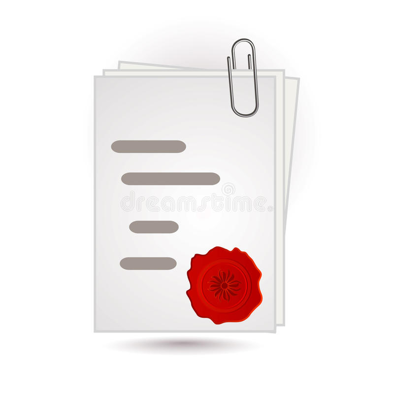 Document and wax. Isolated on white stock illustration