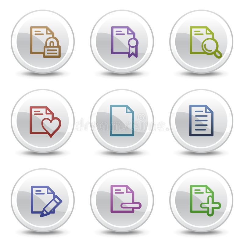 Download Document Web Colour Icons Set 2, Circle Buttons Stock Vector - Image: 10255912
