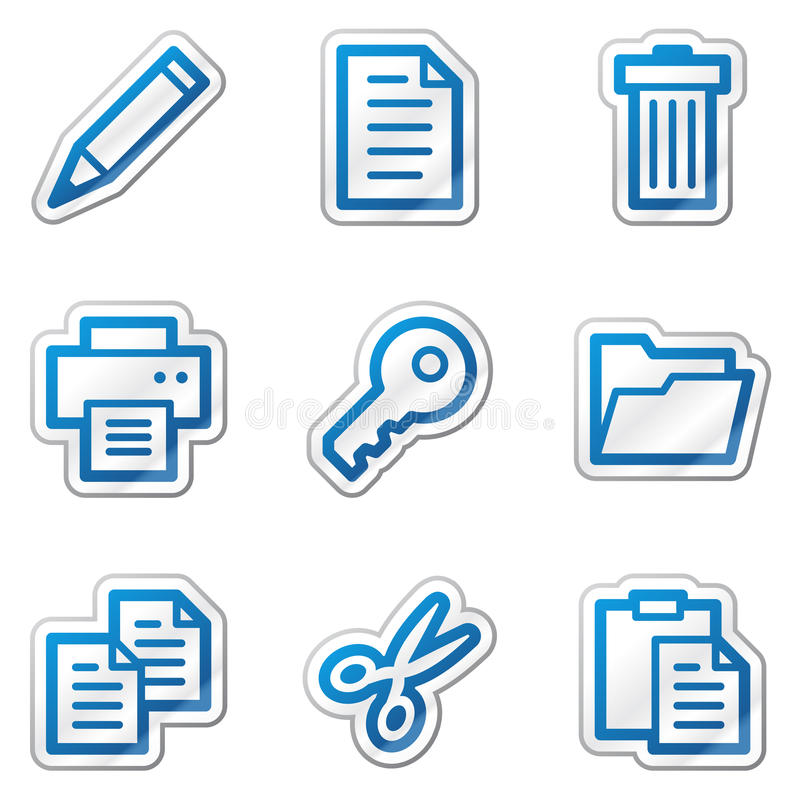 Document web icons, blue contour sticker series vector illustration
