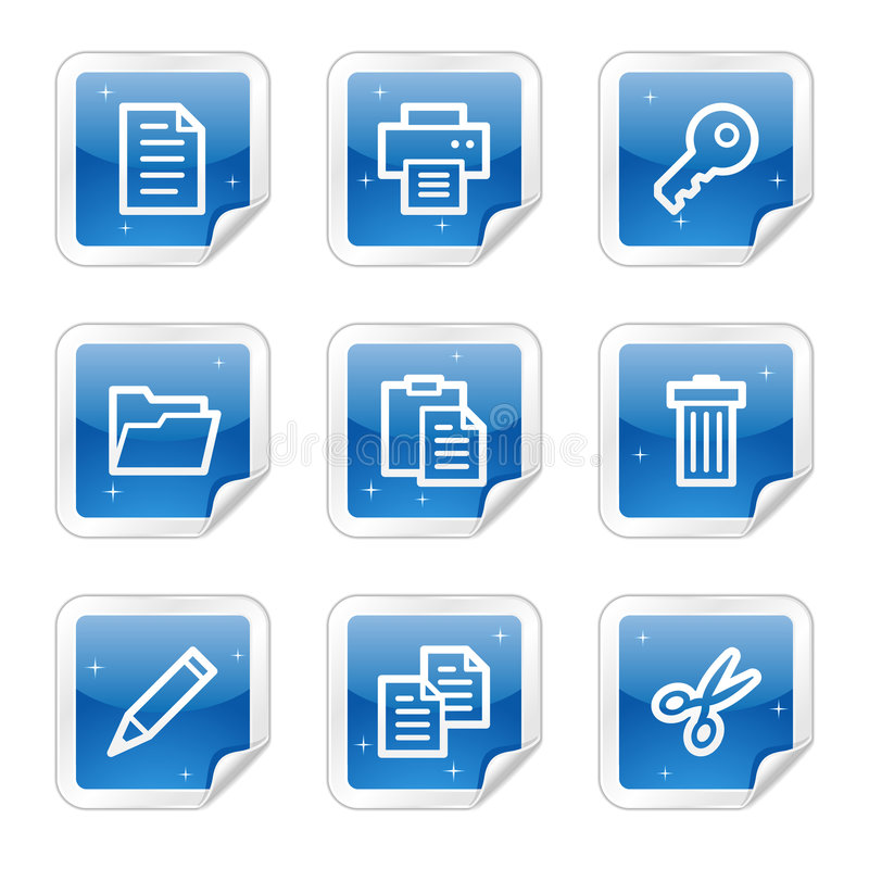 Download Document Web Icons, Blue Glossy Sticker Series Stock Vector - Image: 8643039