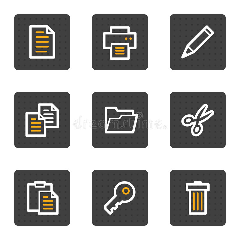 Download Document Web Icons, Grey Buttons Series Stock Vector - Image: 9185106