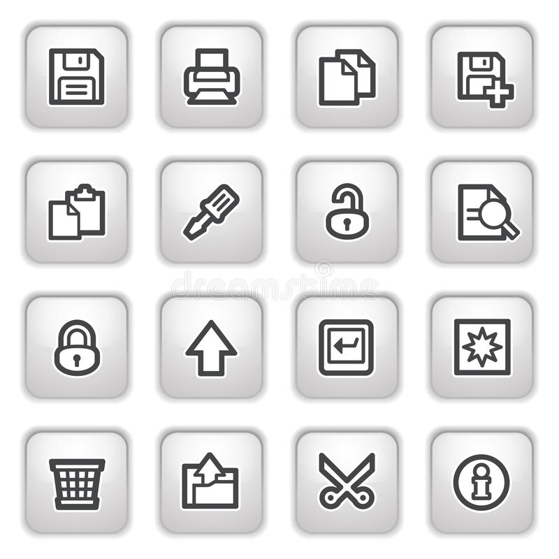 Free Document Web Icons On Gray Buttons, Set 1. Royalty Free Stock Image - 16050996