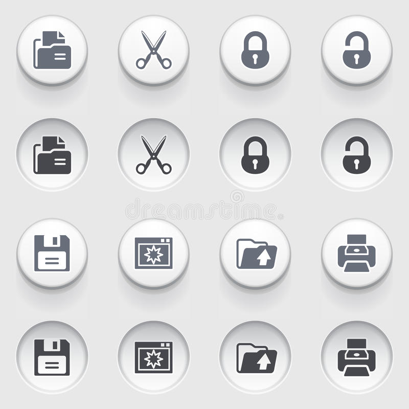 Free Document Web Icons On White Buttons. Set 1. Royalty Free Stock Photos - 34980218