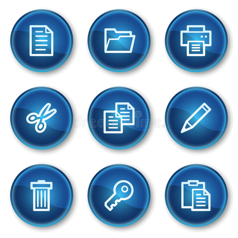 Download Document Web Icons Set 1, Blue Circle Buttons Stock Vector - Image: 13308595