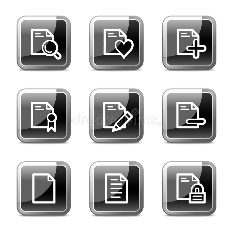 Document web icons set 2, glossy buttons series stock illustration